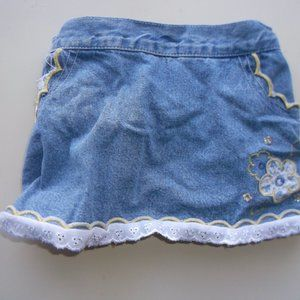 Denim Skirt panties or diaper cover attached 24 mo